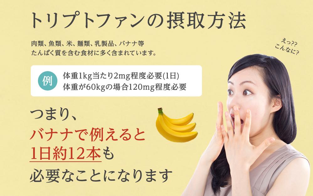 トリプトファンは食品から取ろうとすると1日にバナナ12本も食べなければいけません